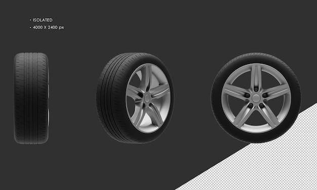 Jante et pneu de roue de voiture de chrome gris élégant de voiture de ville de sport d'isolement