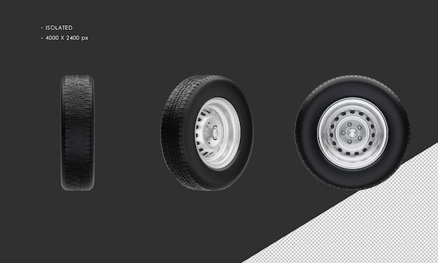 Jante et pneu de roue de voiture classique de berline d'isolement