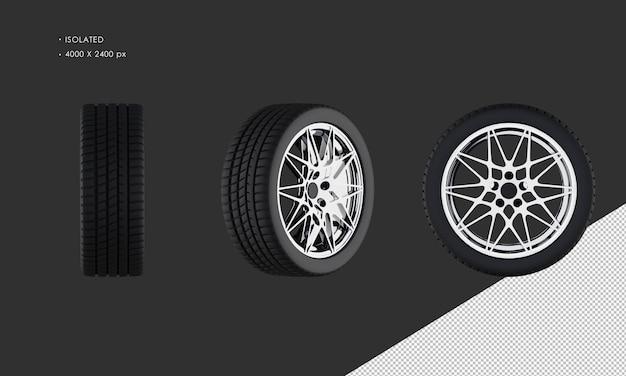 Jante et pneu de roue de voiture de sport moderne isolé