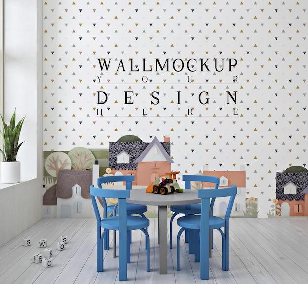 Jardin d'enfants mignon moderne avec maquette de mur