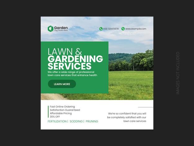 Jardin de pelouse ou service d'aménagement paysager modèle de publication sur les médias sociaux et de bannière web