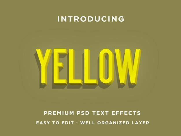 Jaune, effets de texte 3d premium psd