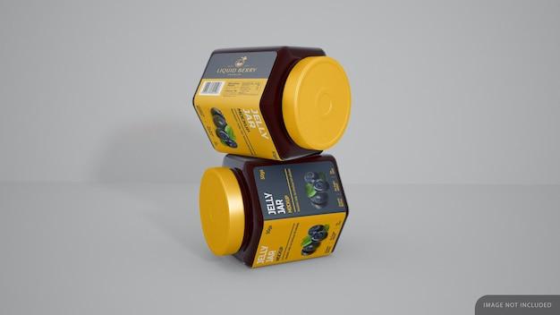 Jelly jar avec maquette d'autocollant d'étiquette