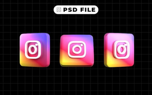 Jeu d'icônes de logo de médias sociaux 3d