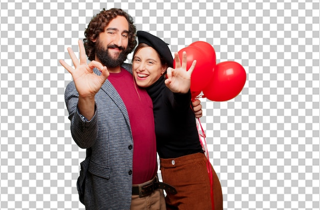 Jeune couple, célébrer, saint valentin