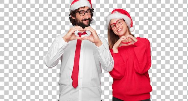 Jeune couple exprimant le concept de noël. couple et fond dans différentes couches