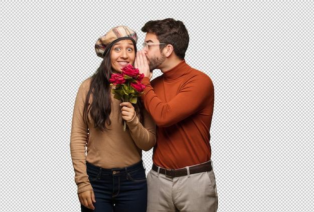 Jeune, couple, saint valentin, chuchoter, potins, aigrement