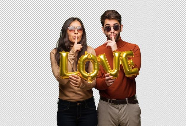 Jeune couple, saint valentin, garder secret, ou, demande, silence