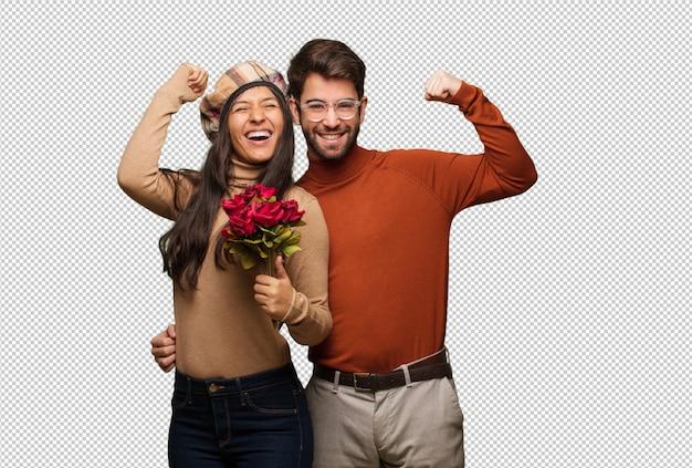 Jeune couple en saint valentin qui ne se rend pas