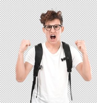 Jeune étudiant en colère criant