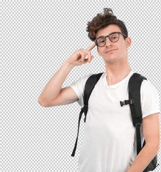 Jeune étudiant avec un geste de concentration