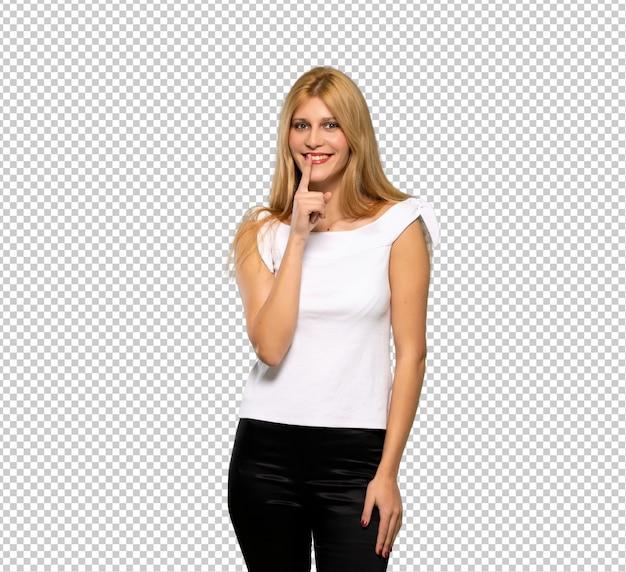 Jeune femme blonde montrant un signe de geste de silence