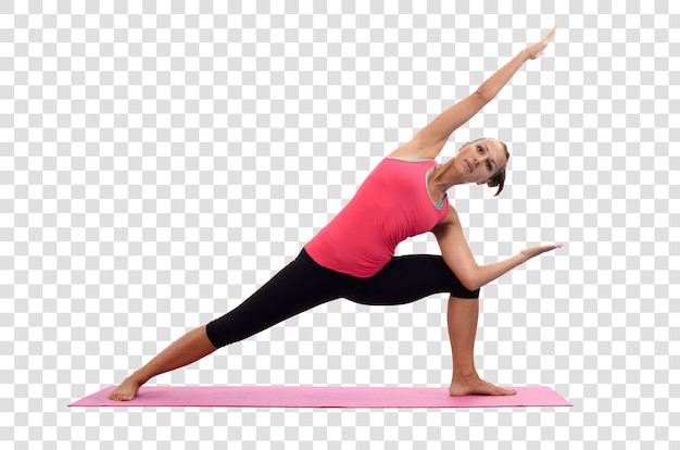 Jeune femme faisant des exercices de yoga, fichier psd en couches