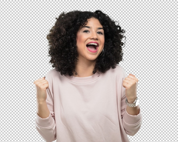 Jeune femme faisant le geste gagnant