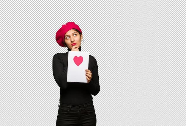 Jeune femme, saint valentin, penser, a, idée