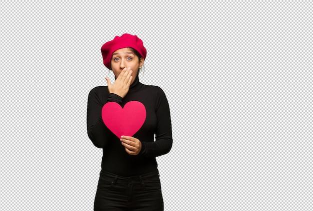 Jeune femme en saint valentin surpris et choqué
