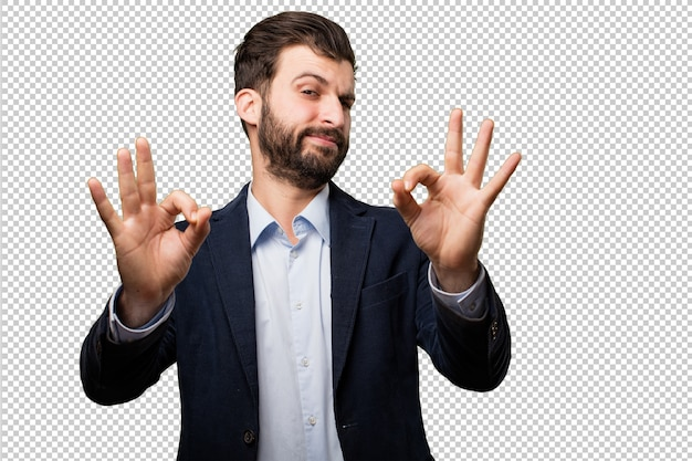 Jeune homme d'affaires avec un cerveau