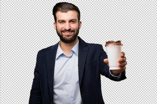 Jeune homme d'affaires avec une horloge de sable