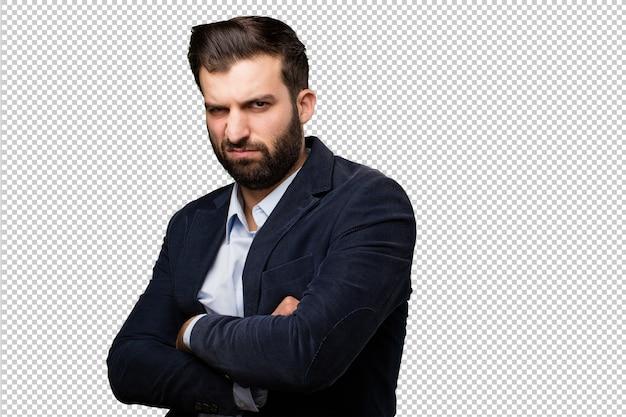 Jeune homme d'affaires avec une horloge