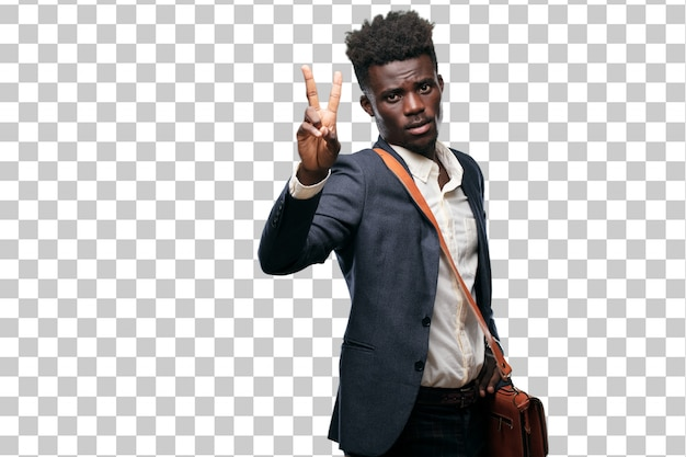 Jeune homme d'affaires noir avec une expression fière, heureuse et confiante