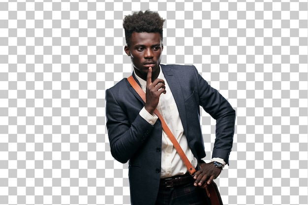 Jeune homme d'affaires noir avec une expression surprise et étonnée