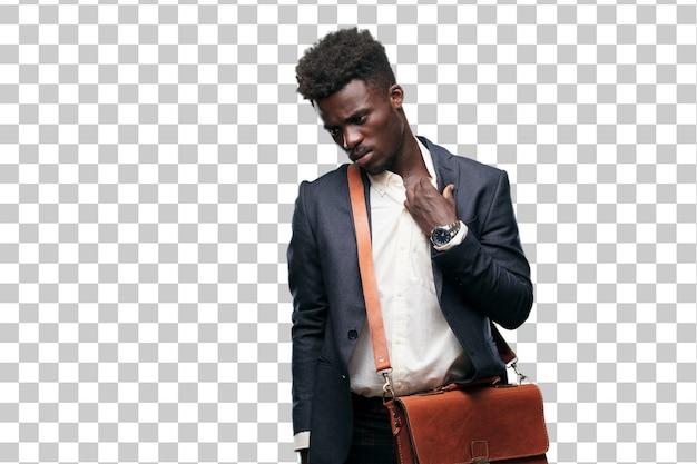 Jeune homme d'affaires noir avec un geste stressé