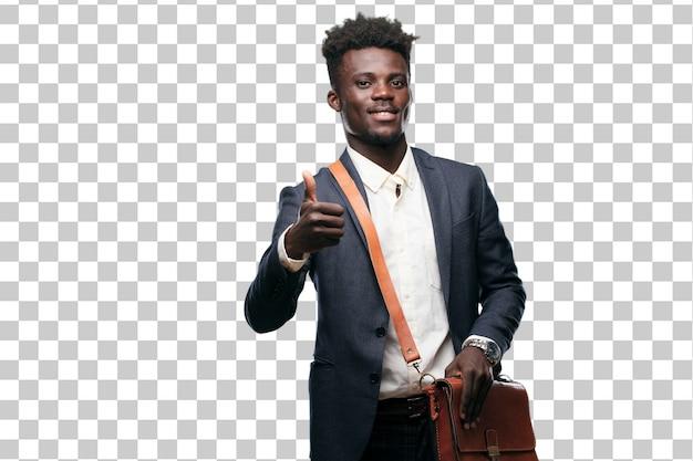 Jeune homme d'affaires noir avec un regard satisfait, fier et heureux