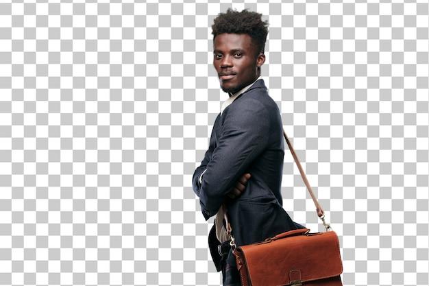 Jeune homme d'affaires noir avec un regard satisfait et heureux sur son visage