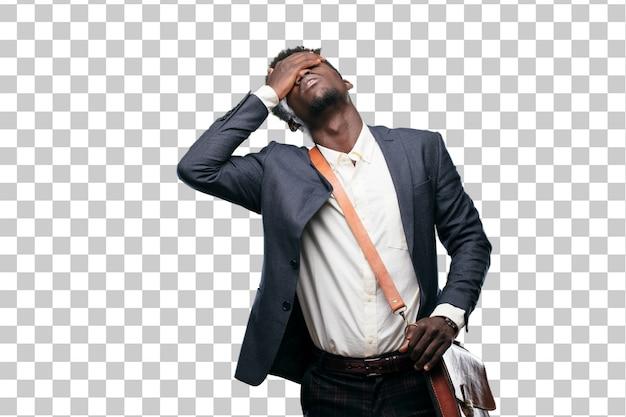 Jeune homme d'affaires noir avec un regard triste de déception et de défaite