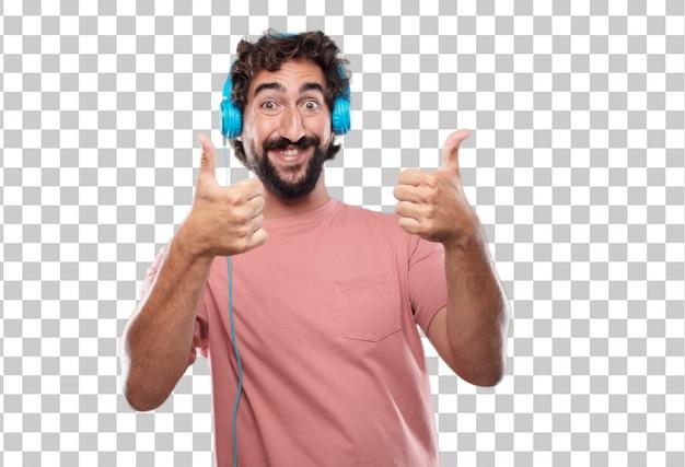 Jeune homme barbu avec un regard satisfait, fier et heureux avec les pouces vers le haut