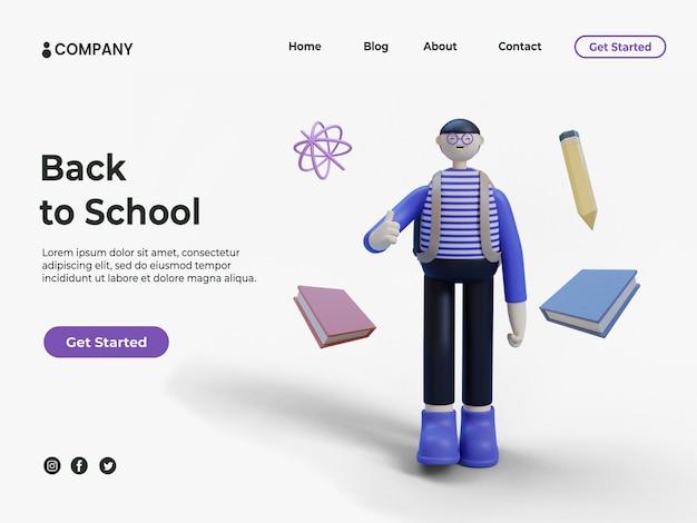 Jeune homme ou étudiant 3d et livres avec un crayon pour l'éducation ou la page de destination