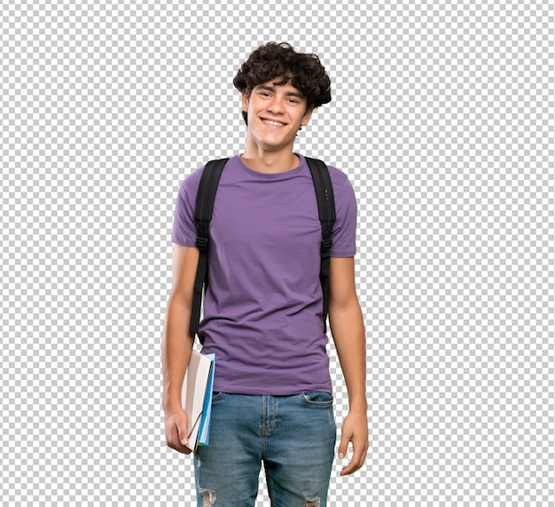 Jeune homme étudiant souriant beaucoup