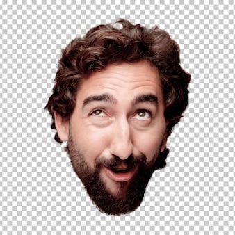 Jeune homme fou barbu, expression tête de coupe isolé .. blague concept