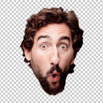 Jeune homme fou barbu expression tête de découpe isolé .. concept surpris