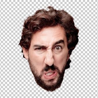 Jeune homme fou barbu, expression tête de découpe isolé .. expression en colère