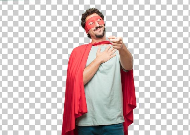 Jeune homme fou de super héros. concept amoureux