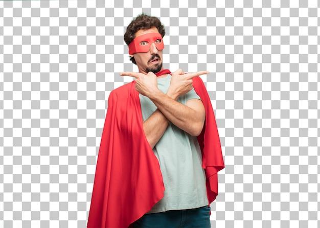Jeune homme fou de super héros expression confuse