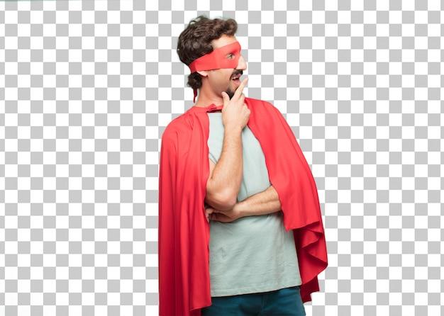 Jeune homme fou de super héros expression émerveillée ou choquée