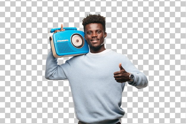 Jeune homme noir avec une radio bleu vintage
