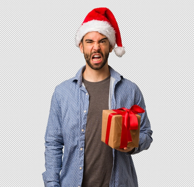 Jeune homme, porter, santa hat, crier, très, colère, et, agressif