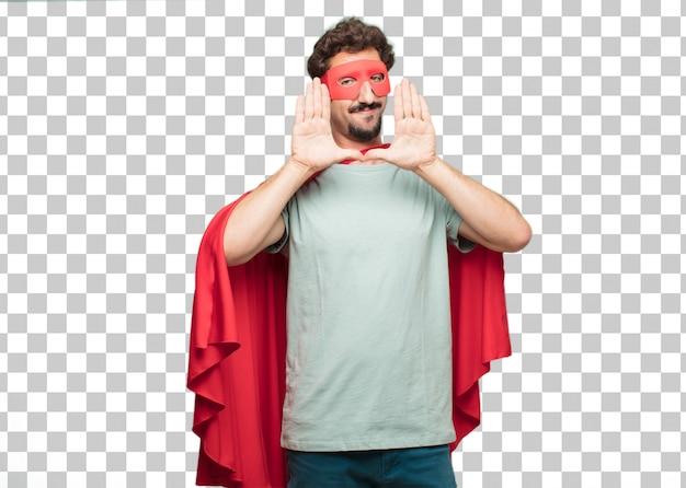 Jeune homme super-héros fou