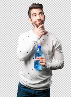Jeune homme, tenue, bouteille eau