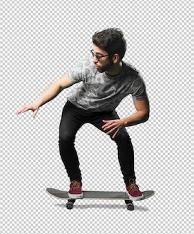 Jeune homme, utilisation, skateboard