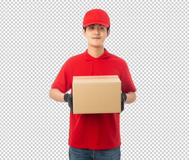 Jeune livreur tenant une boîte en carton papier