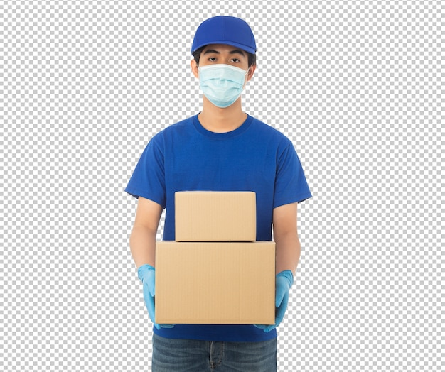 Jeune livreur tenant une maquette de boîte en carton papier