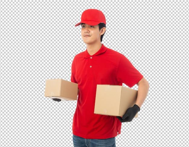 Jeune livreur tenant maquette en carton papier isolé