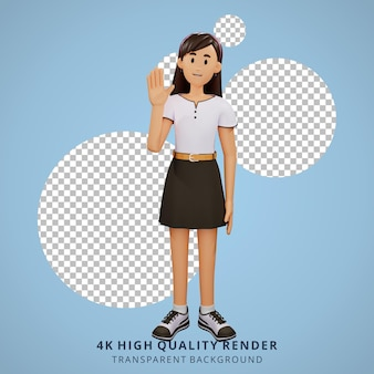 Les jeunes filles agitent les mains illustration du personnage 3d