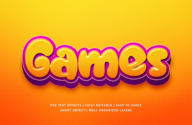 Jeux cartoon 3d text style effect