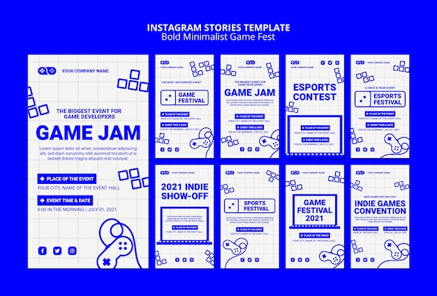 Jeux vidéo jam fest instagram stories template