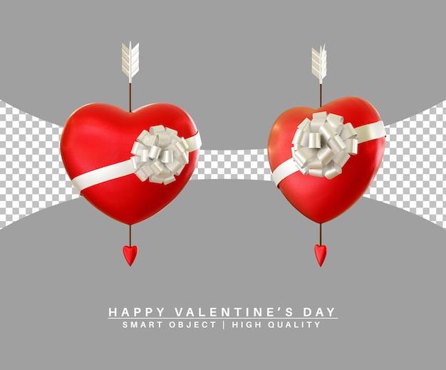 Joli coeur avec cupidon flèche saint valentin rendu 3d isolé